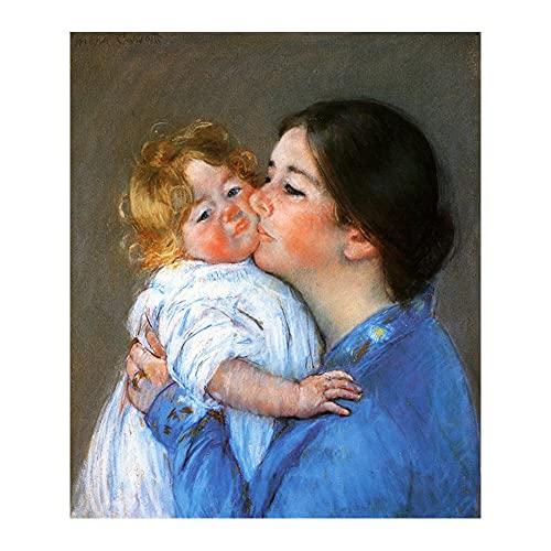 YCHND Quadri Ritratti Wall Art Famoso Dipinto Un Bacio per Baby Anne Mary Stevenson Cassatt Stampe su Tela per Home Decorazioni Poster 40x60cm Senza Cornice