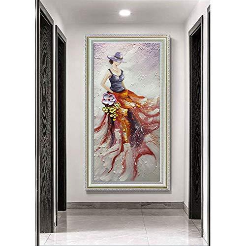 Wandbild Moderne Handgemaltes Fotoleinwand Ölgemälde Ballerina Auf Leinwand Geeignet Für Vertikale Hängen in Office Home Hotel Cafe Wanddekorationen Erwachsene Geschenke,a,60 * 120cm
