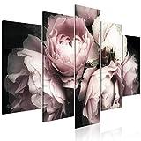 decomonkey Bilder Blumen 200x100 cm 5 Teilig Leinwandbilder Bild auf Leinwand Wandbild Kunstdruck Wanddeko Wand Wohnzimmer Wanddekoration Deko Rose Natur