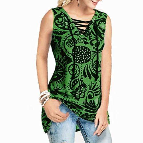 Hbysgj Camisetas sin mangas con cuello en V para mujer, tallas grandes, camisetas de tirantes florales laterales divididos