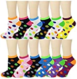 Differenttouch 12 Pairs Pack Women Low Cut Colorful Fancy Design Ankle Socks (9-11, Neon Polka Dot 103) -  SUMONA