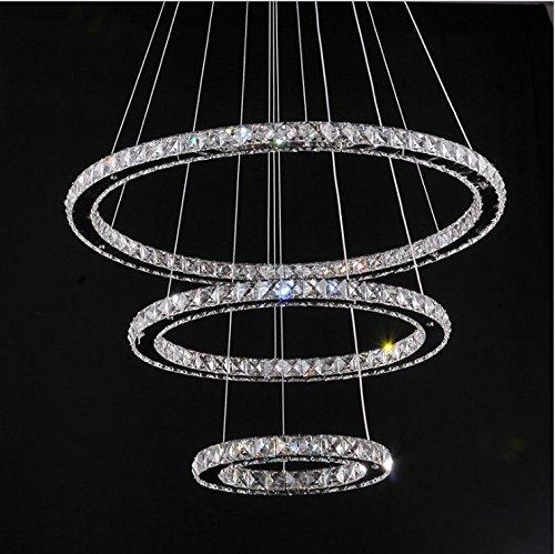Tenlion Lampada a sospensione di cristallo luce di soffitto, lampada a sospensione TOPMAX LED 30 * 50 * 70cm 3 anelli di cristallo cromo freddo Un bianco +