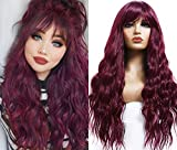 ANDRIA 99J Wigs with Bangs for Women Long loose Wave Wigs Glueless Full Deep Wave Wine Red Hair Wavy Natural Curly Synthetic Heat Resistant Fiber Dark Root Ombre Burgundy Wig For Black Women 24 Inch