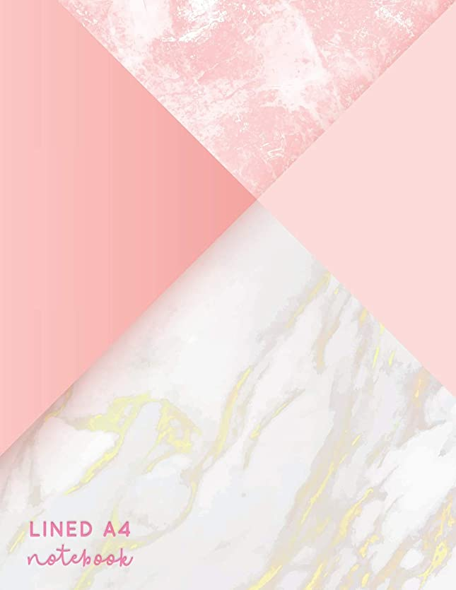 拷問ピーブアンビエントLined A4 Notebook: Pink + Gold Marble | Lined A4 College Ruled (Pretty Notebooks)