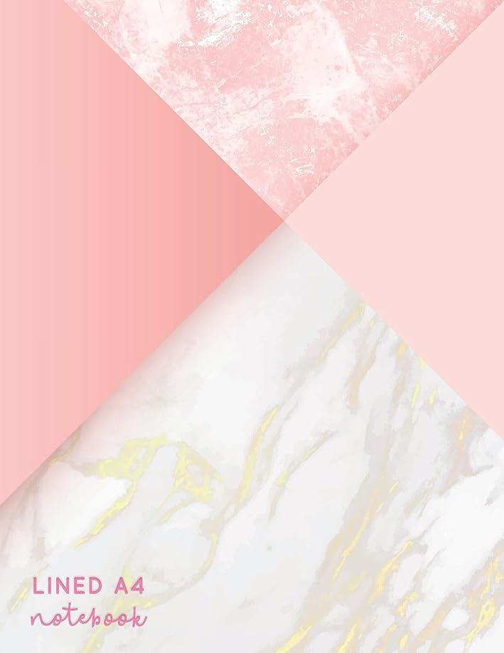 人里離れた定期的タックLined A4 Notebook: Pink + Gold Marble | Lined A4 College Ruled (Pretty Notebooks)