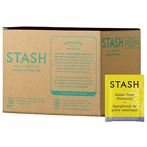 Stash Tea Asian Pear Harmony, 100 Count Teabags in Foil Individual Green Tea Bags for Use in Teapots Mugs or Cups, Brew Hot Tea or Iced Tea