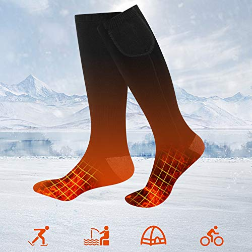 JNUYISW Rechargeable Heated Socks for Men Women,Upgraded Battery Powered Heated Socks with 2200Mah for Hunting Camping Hiking Riding Cycling (Black)