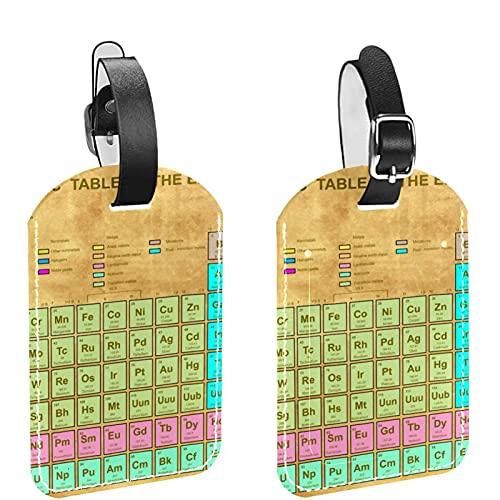 Juego de 2 etiquetas para equipaje de viaje vintage de la tabla periódica de los elementos, etiquetas de equipaje y bolsa con correa segura
