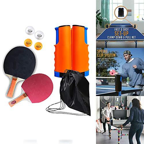 Tischtennisschlägerset, Tischtennispaddel, Trainingszubehör Racquet Bundle Kit, Ausziehbares 1 Tischtennisnetz, 2 Tischtennisschläger, für Erwachsene im Innen- und Außenbereich