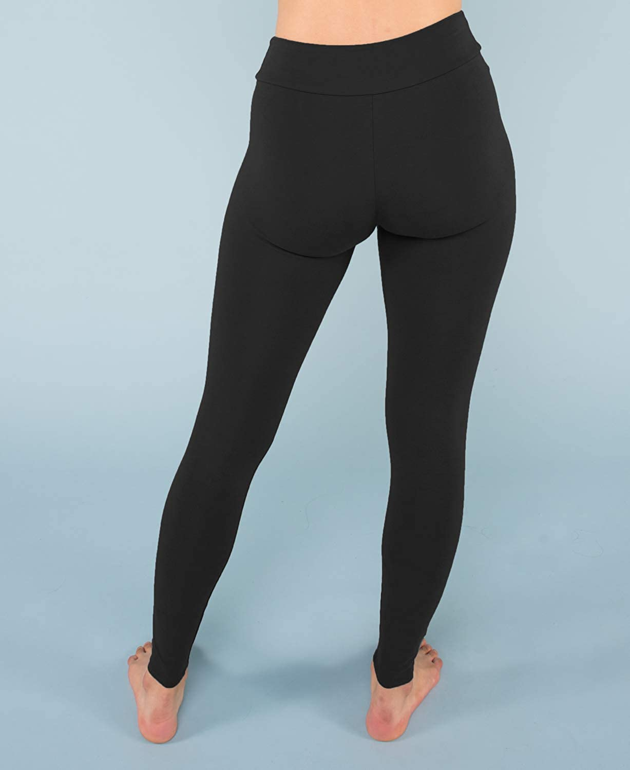 Soul Flower Women's Organic Cotton Leggings, Ladies Full Length Fitted Yoga Pants, Stretchy Solid Color Long Basic Bottoms