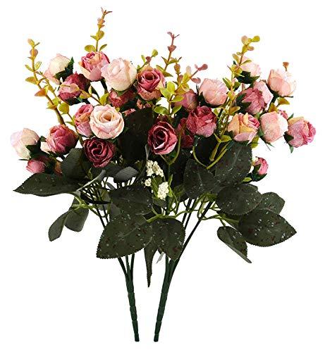 Ramo de flores artificiales de seda con 21 cabezas, para bodas, decoraciones florales para el hogar, paquete de 2 (rosa y marrón)