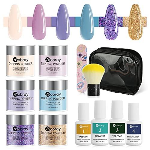 Polvo Inmersión para Uñas- Kit Porcelana para Uñas 6 Colores Bonitos-Porcelana Uñas, Dip Powder Nail Kit con Bolsa y Cepillo-Fácil de Usar, No Necesita Lámpara UV, Perfecto para Principiantes