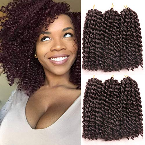 8 Inch Short Passion Twist Hair 6 Bundles Marlybob Crochet Hair Kinky Curly Crochet Hair for Black Women Water Wave Crochet Braids Hair for Kids (6Bundles8 Inch, 4#)
