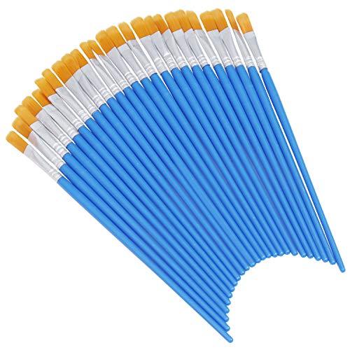 Pincel Plano Azul (Pack de 50) - Tamaño 17cm de Largo x 6mm de Ancho con Cerdas Naranja Sintéticas - Pinceles Pintura para Sombras, Mezclar, Brocha en Seco, Pinceles Oleo, Acrílica, Acuarela