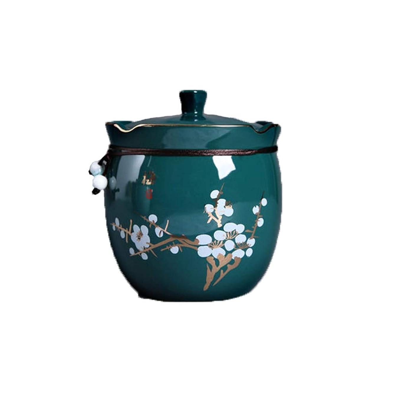 ポップ音声パワー葬儀壷少量の人間の灰セラミック瓶シール中間の数の色美しいパターン包装箱ギフトボックスホーム収納お土産 (Color : Green)