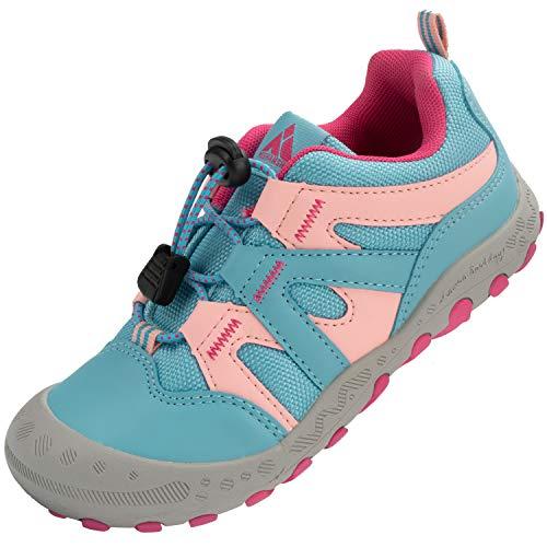 Mishansha Jungenschuhe Kinder Hallenschuhe Trekking- & Wanderhalbschuhe, Sportschuhe mit Klettverschluss Outdoor Walkingschuhe Pink Blau, Gr.34 EU