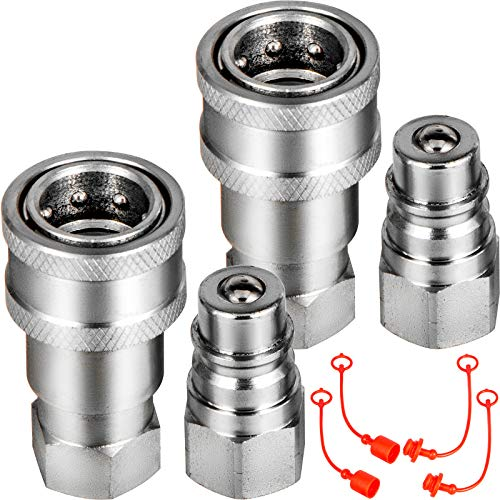 """VEVOR Flat Face Hydraulic Couplers 1/4"""" Body 1/4"""" NPT Thread, Skid Steer Quick Connect Couplings, 5076 PSI Hydraulic Fittings, 2 Sets Hydraulic Couplers w/Dust Caps for Bobcat Case (ISO 5675)"""