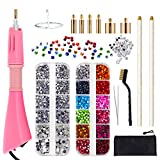 Hotfix Applicator, GLTECK DIY Hot Fix Rhinestone Applicator Wand Setter Tool Kit with 7 Different Sizes Tips-2 Rhinestone Pencil Pickers -Tweezers & Brush Cleaning kit and 2 Pack Hot-Fix Crystal Rhin