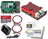 Raspberry Pi 4 アーマード (4GB基盤, アーマーケース(レッド:FAN無), Anker 18W電源, 高速型64GB MicroSD,4K出力用HDMIケーブル2本, スイッチケーブル)