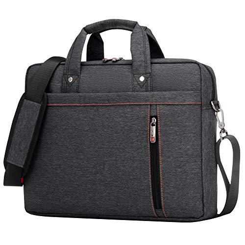 BOTRE Donne Uomo Borsa per Laptop in Nylon Borsa a Tracolla Della Borsa Asciugamano Borsa da Viaggio per Documenti 15.6 17.3pollici Laptop Macbook air Tablet (Nero, 17.3Pollici)