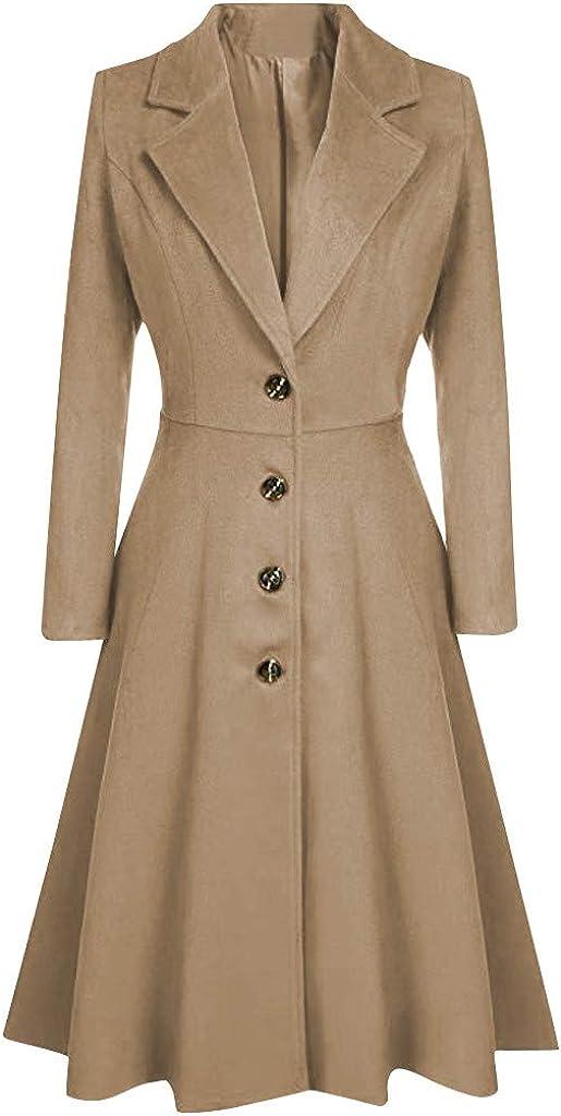 Women Coats, Women's Elegant Solid Color Mid-Length Thicken Warm Wool Blend Coat