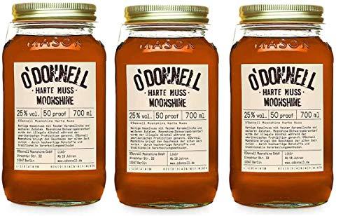 """3 Gläser O'Donnell Moonshine """"Harte Nuss"""" Likör (700 ml) I Made in Germany I Natürliche Zutaten I Premium Haselnuss Schnaps nach Amerikanischer Tradition I 25% Vol."""