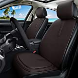 Brown Leather Seat Covers Universal Front Seat Covers + Premium All Gel Seat Cushion Relief the Pain for Car/Trucks/Office Chair 7PCS Auto Seat Covers Set (C-Dark brown) -  Haihong