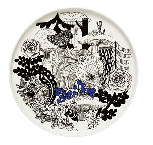 Marimekko - Teller, Frühstücksteller, Kuchenteller - Veljekset - Steingut - Ø 20 cm - weiß, schwarz, blau