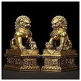 AMYZ Estatua de latón de Feng Shui,Adornos de Prosperidad de Riqueza de león,par de Perros,Escultura de guardián de FU Foo,protección contra la energía del Mal,Figura Decorativa de Feng Shui