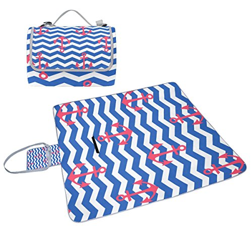 coosun Nautisches Muster mit Ankern Picknick Decke Tote Handlich Matte Mehltau resistent und wasserfest Camping Matte für Picknicks, Strände, Wandern, Reisen, Rving und Ausflüge