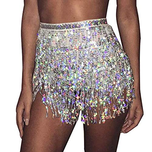 Victray Belly Dance Hip Skirt Tassel Scarf Sequin Wrap Rave Costume for Women (Silver)