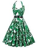 Women's 1950s Vintage Halter Dress Party Cocktail Swing Dress(3XL,75-34)