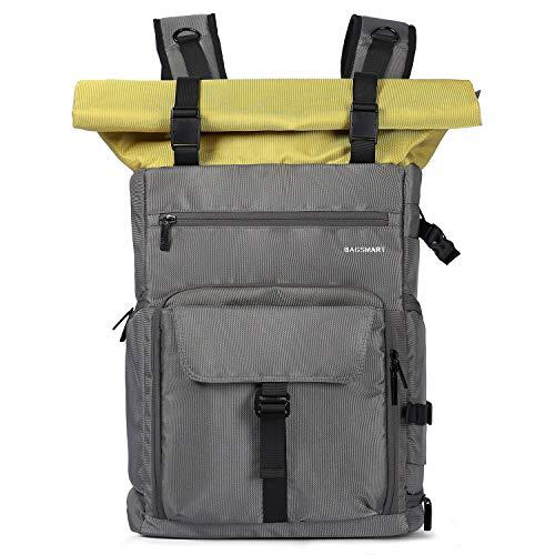 BAGSMART Kamerarucksack Roll Top Professionel DSLR SLR Kameratasche mit Gegenschutz für 200-400mm Objektive, 15,6 Zoll Laptop,DJI Mavic Pro, Grau
