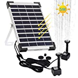 LEDGLE 5W Solar Fountain Pump 2 Pumps, Solar Water Pump, Solar Powered Fountain Pump,Outdoor Bird Bath Garden Water Pump for Small Pond, Courtyard,Patio Garden and Fish Tank