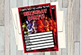12 FIVE NIGHTS AT FREDDY'S Birthday Invitations (12 5x7in Cards, 12 matching white envelopes)