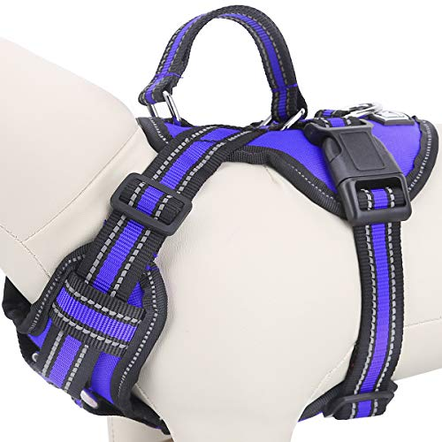 Upgraded Safety No-Pull Dog Harness, Adjustable Pet Reflective Oxford Soft Vest Harness - Front/Back Leash Clips for Small Medium Large Dogs, Pet Outdoor Walking Halters with Nylon Handle