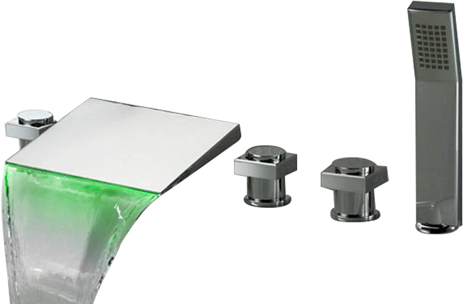 Bath Tap Contemporary Waterfall Bath Mixer Tap with Hand Shower LED color Change 5 Holes Chrome M5103CL