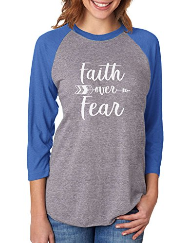 Faith Over Fear Christian Fashion Gifts 3/4 Women Sleeve Baseball Jersey Shirt XX-Large Blue/Gray