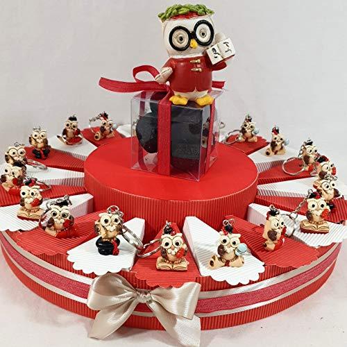 BOMBONIERE per Laurea Torta Porta Confetti con gufetti Portachiavi SPEDIZIONE Inclusa (Torta da 20 fette)