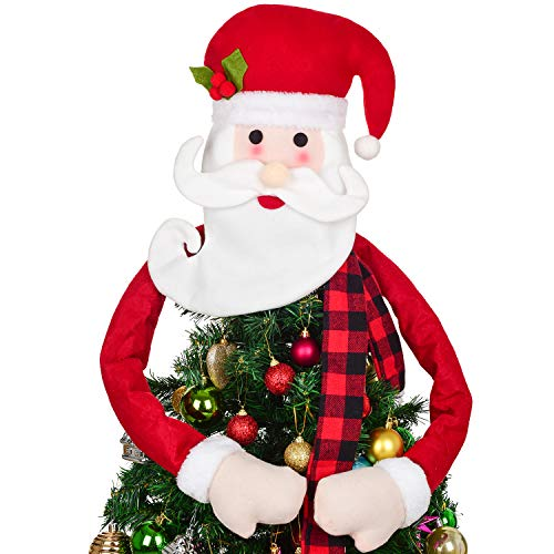 Lvydec Christmas Tree Topper Santa Hugger - Large Santa Claus Ornament with Bendable Arms for Christmas Tree Decoration