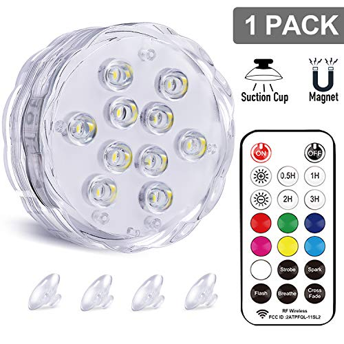 Qoolife Magnetic Dual Waterproof Submersible LED Light with Suction Cup, Remote (RF) - 3.3' RGBW...