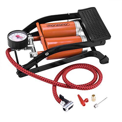 Deuba Bomba de pie de Doble Cilindro para Coche Bicicleta 7 Bar 100 PSI 3 adaptadores Pedal Antideslizante Manguera de 80cm
