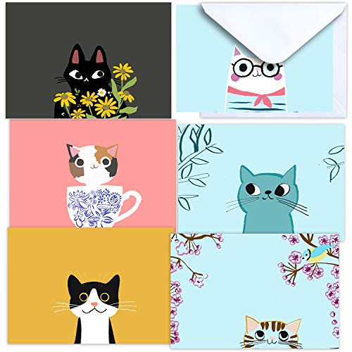 36 Blank Greeting Cards With Envelopes – Cute Cat Bulk Note Cards Stationery Box Set For All Occasions Birthday Thank You and Just Because