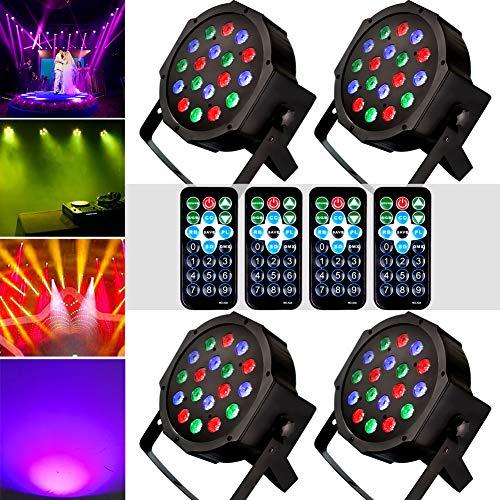 KOOT Bühnenlicht RGB 18 LEDS Par Disco Lichter DJ Lichter Auto Flash Music Mode Fernbedienung für Karneval Oktoberfest Halloween Club Geburtstag Party Discokugel (4 stück)