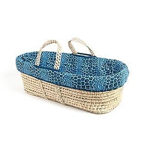 Tadpoles Moses Basket and Bedding Set, Blue Navy Leopard