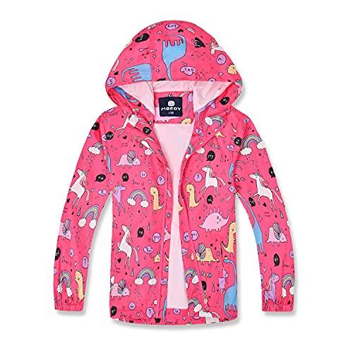 MGEOY Girls Rain Jackets Lightweight Waterproof Hooded Raincoats Windbreakers for Kids Pink 7/8