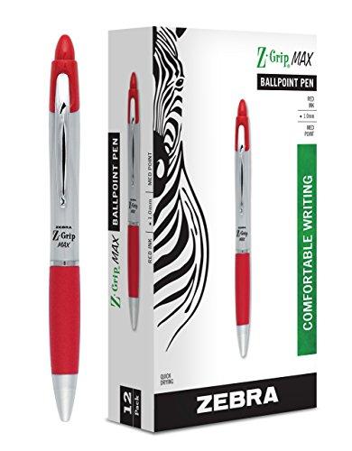 Zebra Pen Z-Grip MAX Retractable Ballpoint Pen, Medium Point, 1.0mm, Silver Barrel, Red Ink, 12 Pack