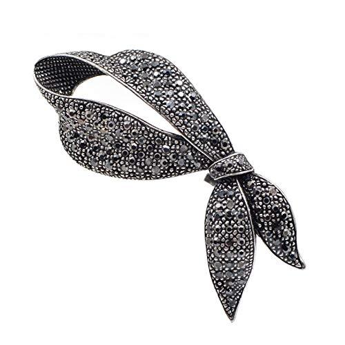 Bonitos broches de lazo negro con diamantes de imitación para mujer, broche con lazo a la moda, joyería elegante para fiesta, broches para abrigo de invierno, por defecto