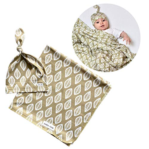 Simka Rose Swaddle Blanket & Hat Set for Girls and Boys - 47 x 47 Large Soft Baby Blanket - Top Knot Beanie Hat - Newborn Photography or Home from The Hospital Outfit (Olive Leaf)