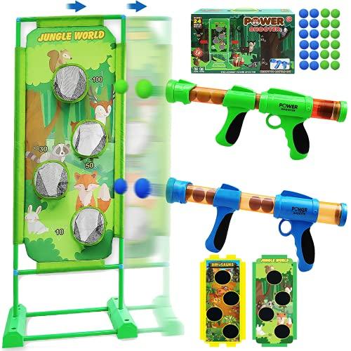 Juego de Tiro para Niños Juego de disparos Power Popper Gun con 24 bolas de espuma, 2 pistolas de aire Popper, jardín, juegos al aire libre, regalos para niños y niñas